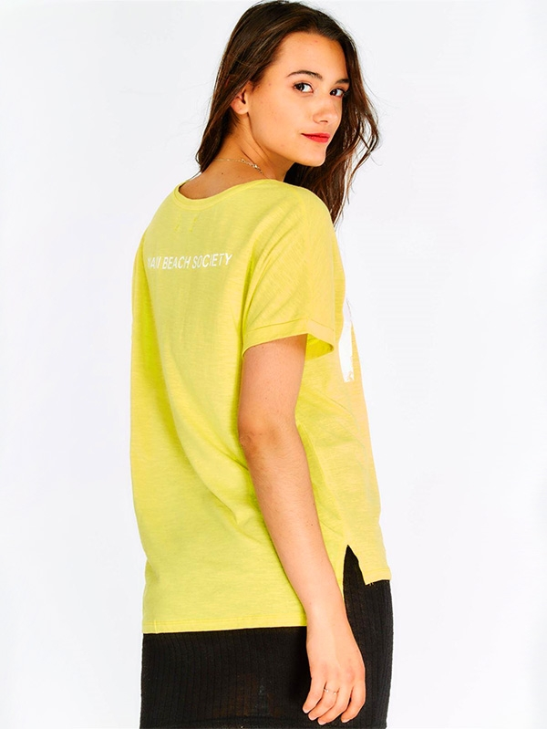 Дамска тениска Yellow Cotton T-Shirt With Text Print