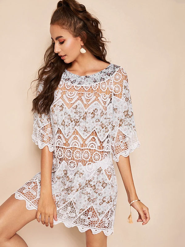 Дамска туника Scalloped Hem Lace Insert Ditsy Floral Cover Up