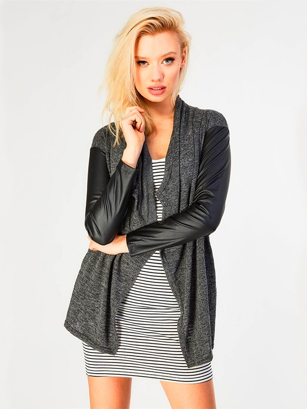 Дамска жилетка Waterfall front faux leather sleeve long line Cardigan with slant pockets