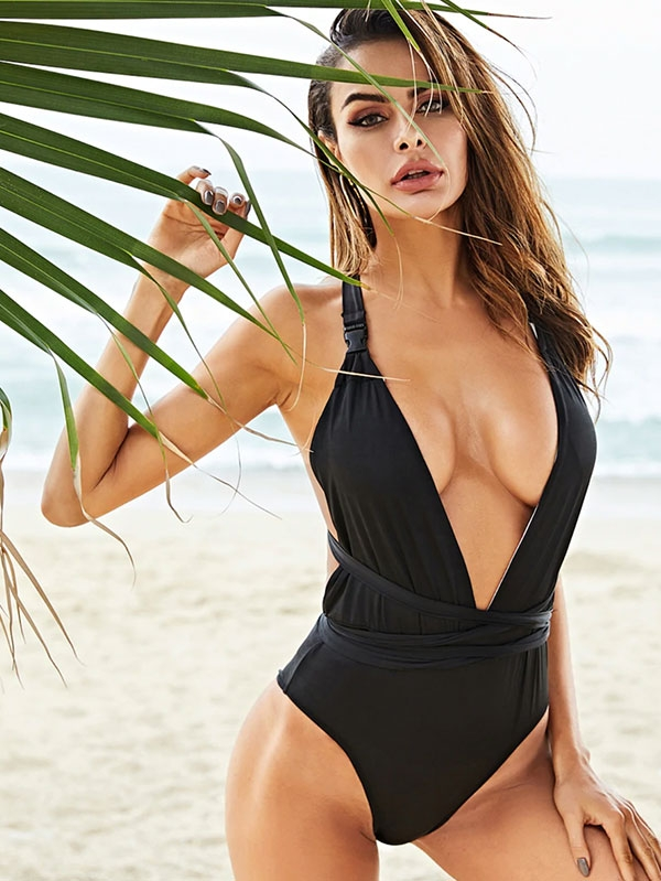Дамски бански Crisscross Back Deep V-Neck One-Piece Swimsuit