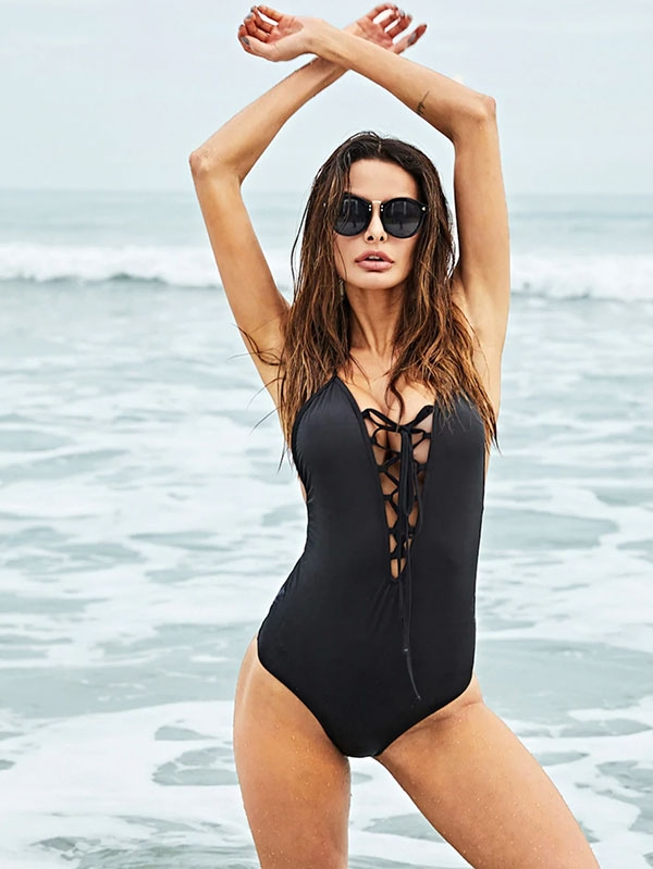 Дамски бански Crisscross Back Lace Up Front One-Piece Swimsuit