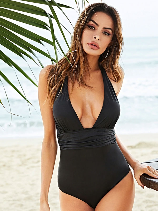 Дамски бански Deep V-Neck One-Piece Swimsuit