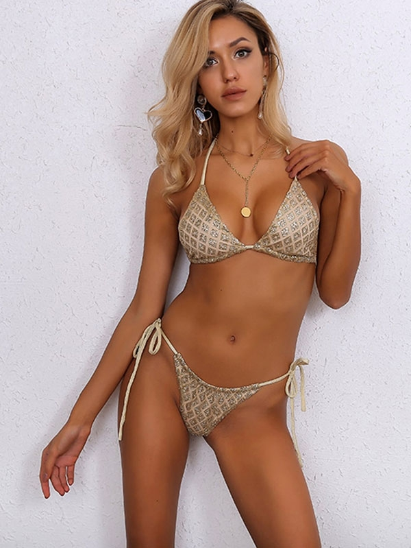 Дамски бански Joyfunear Halter Neck Top & Tie Side Thong Bikini