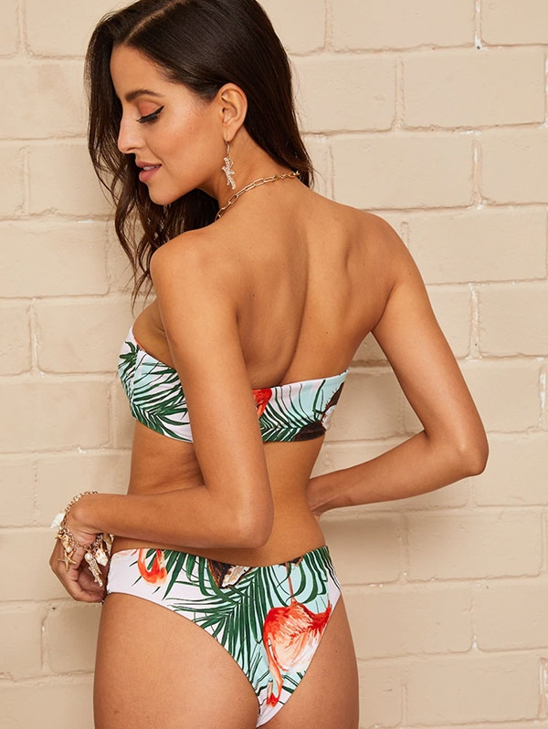 Дамски бански Knot Front Tropical Bandeau Bikini Set
