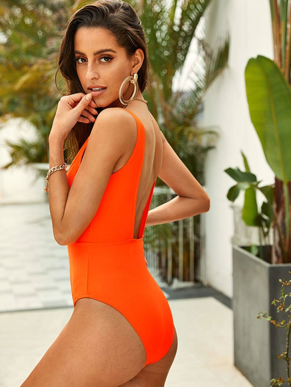 Дамски бански Neon Orange Deep V Neck One Piece Swimsuit