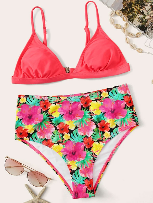 Дамски бански Triangle Top With Floral Bikini Set