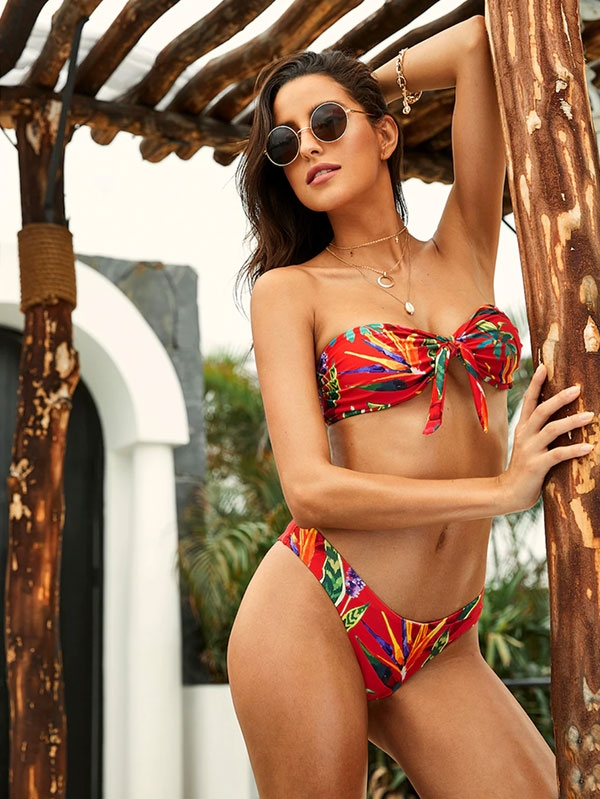 Дамски бански Tropical Bandeau With High Leg Bikini Set