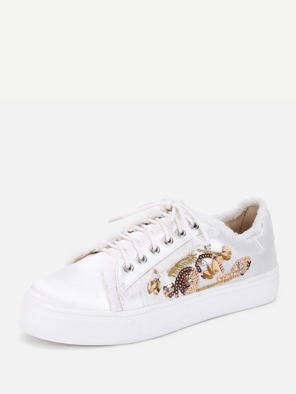 Дамски бели кецове с бродерия Raw Trim Lace Up Sneakers With Sequin