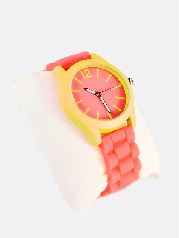 Дамски часовник Pink Watch With Yellow-Green Details
