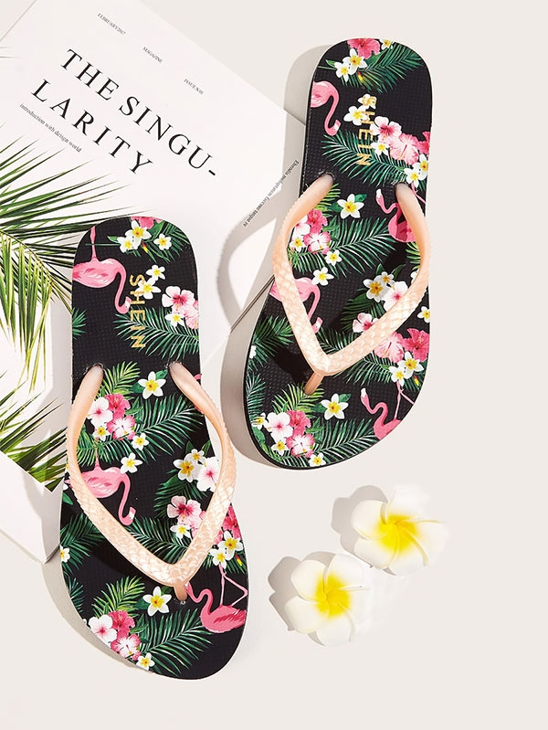 Дамски джапанки Tropical Print Toe Post Slippers