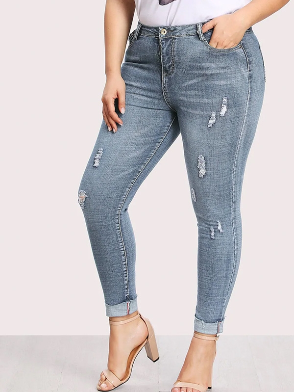 Дамски дънки Plus Ripped Faded Wash Jeans