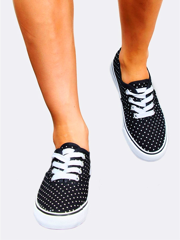 Дамски кецове Black Polka Dot Plimsolls