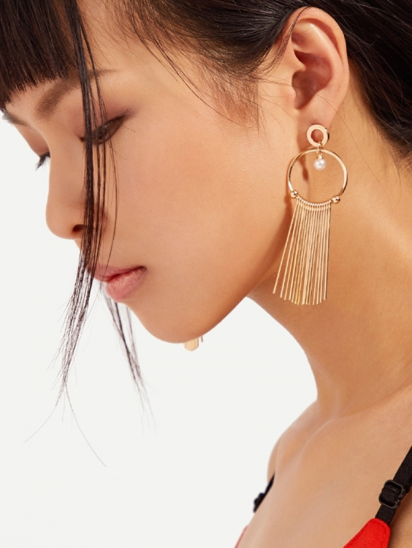 Дамски обеци Bar And Hoop Drop Earrings