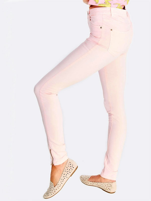 Дамски панталон Pastel Pink Trousers With Cotton