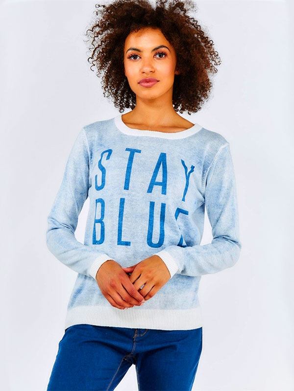 Дамски пуловер Blue Slogan Lightweight Jumper