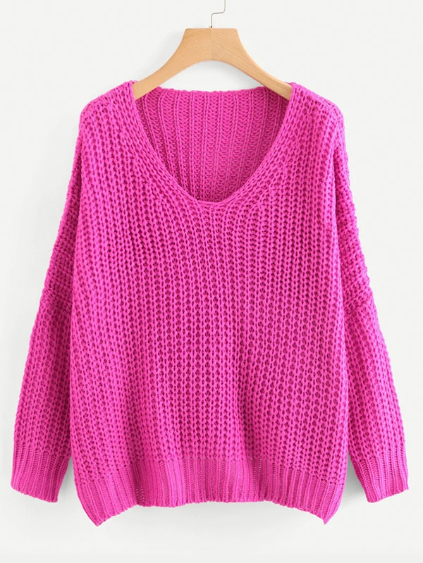 Дамски пуловер Neon Pink V Neck Drop Shoulder Oversized Sweater