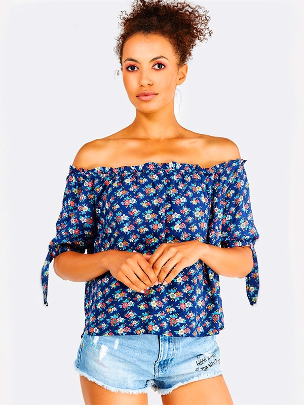 Дамски романтичен топ Navy Floral Pattern Off Shoulder Top