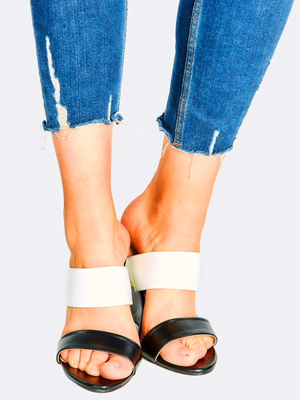 Дамски сандали Black And White Wedge Sandals