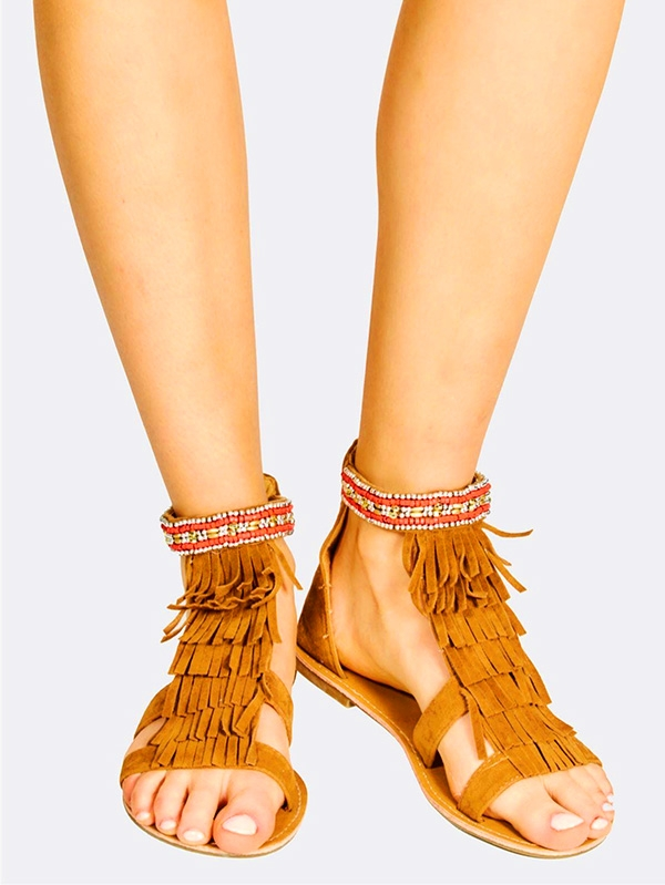 Дамски сандали Brown Faux Suede Fringed Flat Sandals