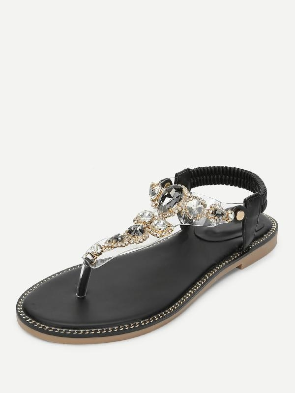 Дамски сандали Clear Strap Toe Post Sandals With Rhinestone