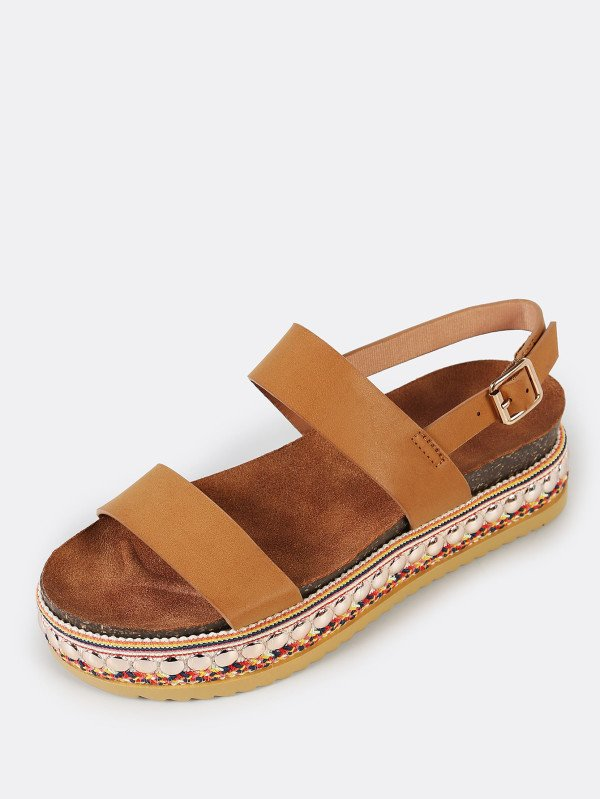 Дамски сандали Double Band Slingback Decorated Flatform Sandal CAMEL