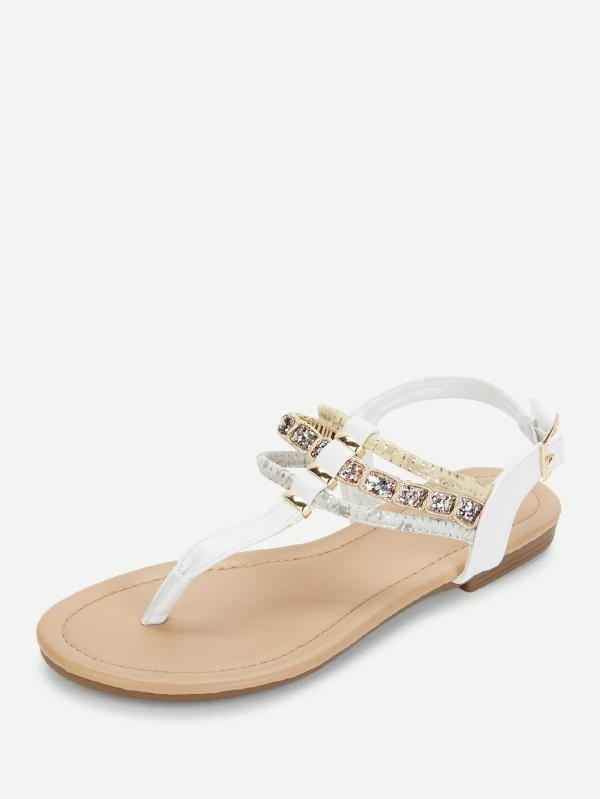 Дамски сандали Faux Pearl Detail Toe Post Flat Sandals