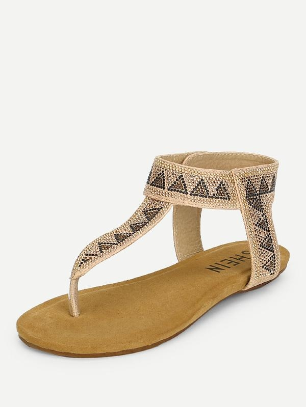 Дамски сандали Geometric Pattern Toe Post Sandals