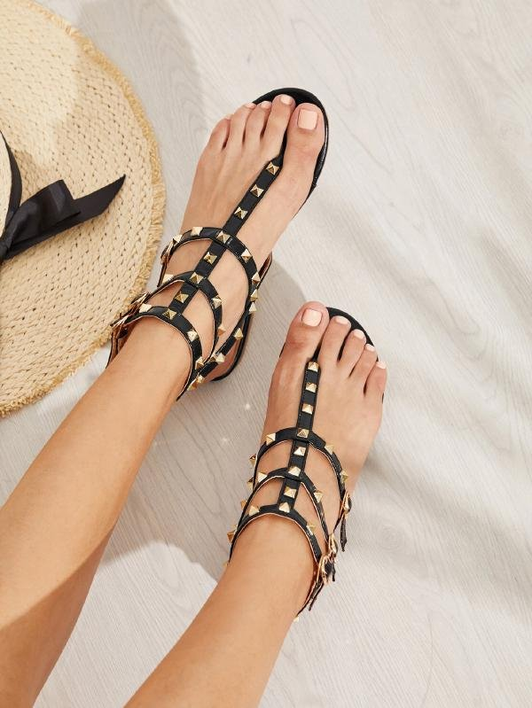 Дамски сандали Rockstud Toe Post Strappy PU Sandals