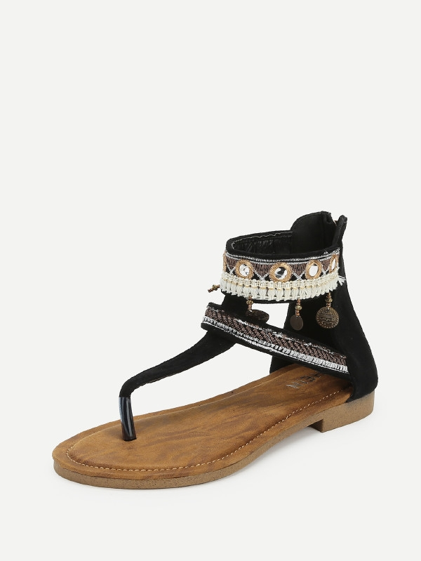 Дамски сандали Tassel Decorated Toe Post Sandals