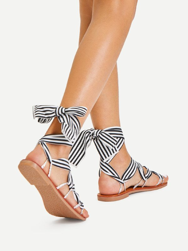 Дамски сандали Tie Leg Striped Design Flat Sandals