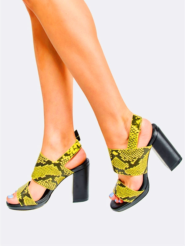 Дамски сандали Yellow Reptile Pattern Sandals