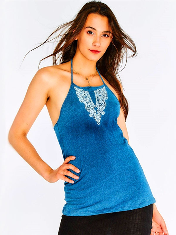 Дамски топ Blue Cotton Top With Crochet Detail