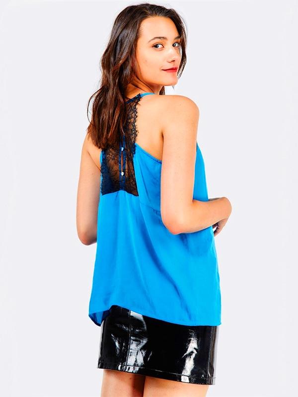 Дамски топ Blue Flowy Top With Lace Detail