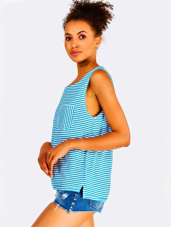 Дамски топ Blue Striped Cotton Top