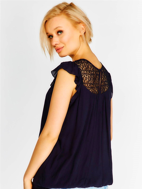 Дамски топ Indigo loose fit sleeveless top with sheer lace collar panel and frilled shoulders