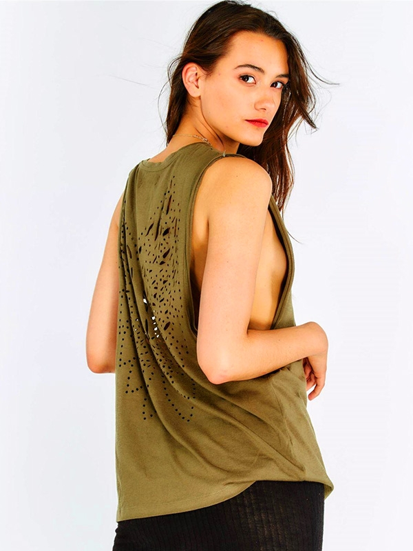 Дамски топ Khaki Top With Perforated Back