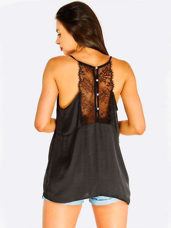 Дамски топ с дантела Black Top With Lace Detail