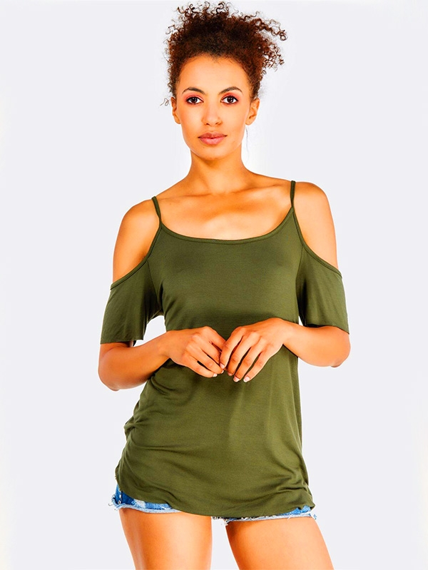 Дамски топ с изрязани рамене Olive Green Top With Cold Shoulders