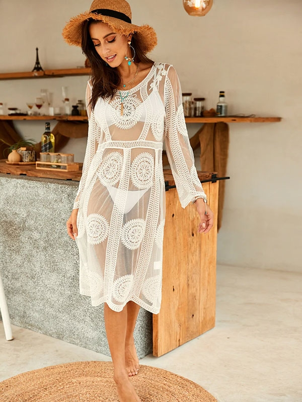 Дамско кимоно Mesh Embroidered Sheer Tunic Cover Up