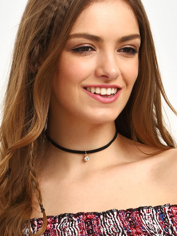 Дамско колие Black Diamond Pendant Velvet Choker