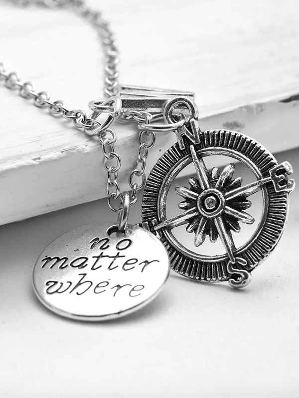 Дамско колие Compass and Letter Pendant Chain Necklace