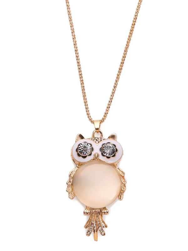 Дамско колие Cymophane Owl Shaped Pendant Necklace