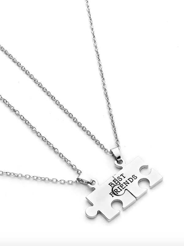 Дамско колие Geometric Puzzle Friendship Pendant Necklace