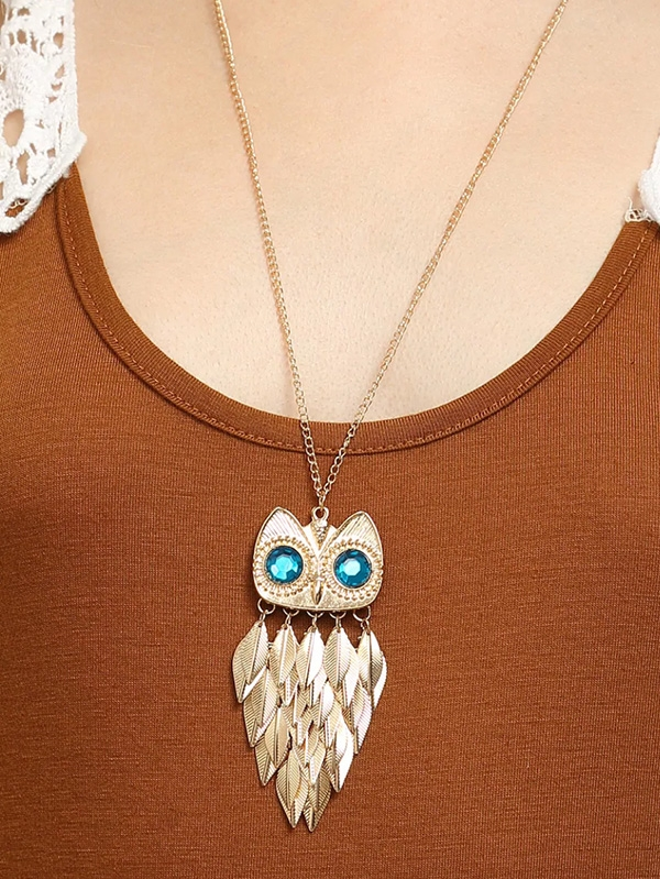 Дамско колие Golden Leaf Owl Alloy Pendant Necklace