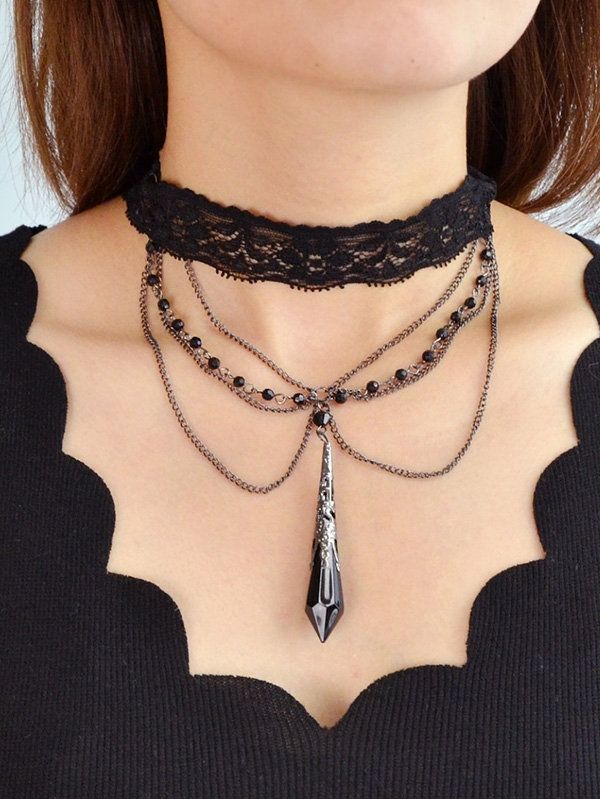 Дамско колие Handmade Black Main Stone Gothic Necklace