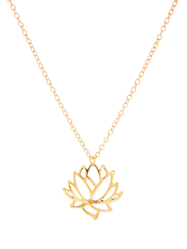 Дамско колие Hollow Lotus Pendant Chain Necklace