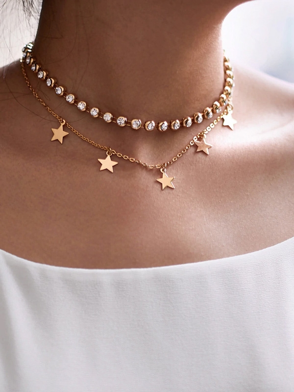 Дамско колие Rhinestone and Star Design Chain Choker