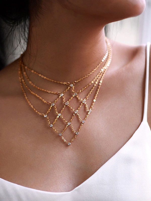 Дамско колие Rhinestone Decorated Geometric Chain Necklace
