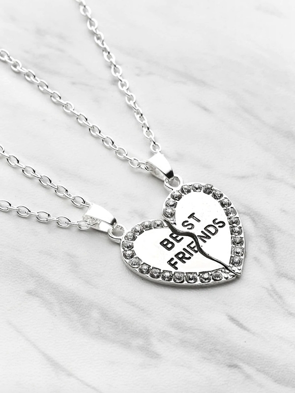 Дамско колие Rhinestone Trim Heart Shaped Friendship Necklace