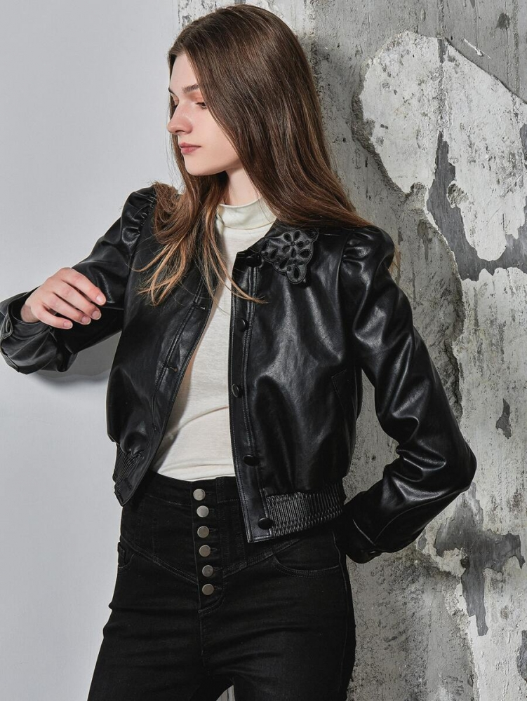 Дамско кожено яке PREMIUM PU LEATHER BOXY STATEMENT COLLAR JACKET
